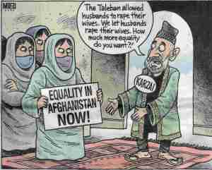 'How much more equality do you want?' Karzai asks