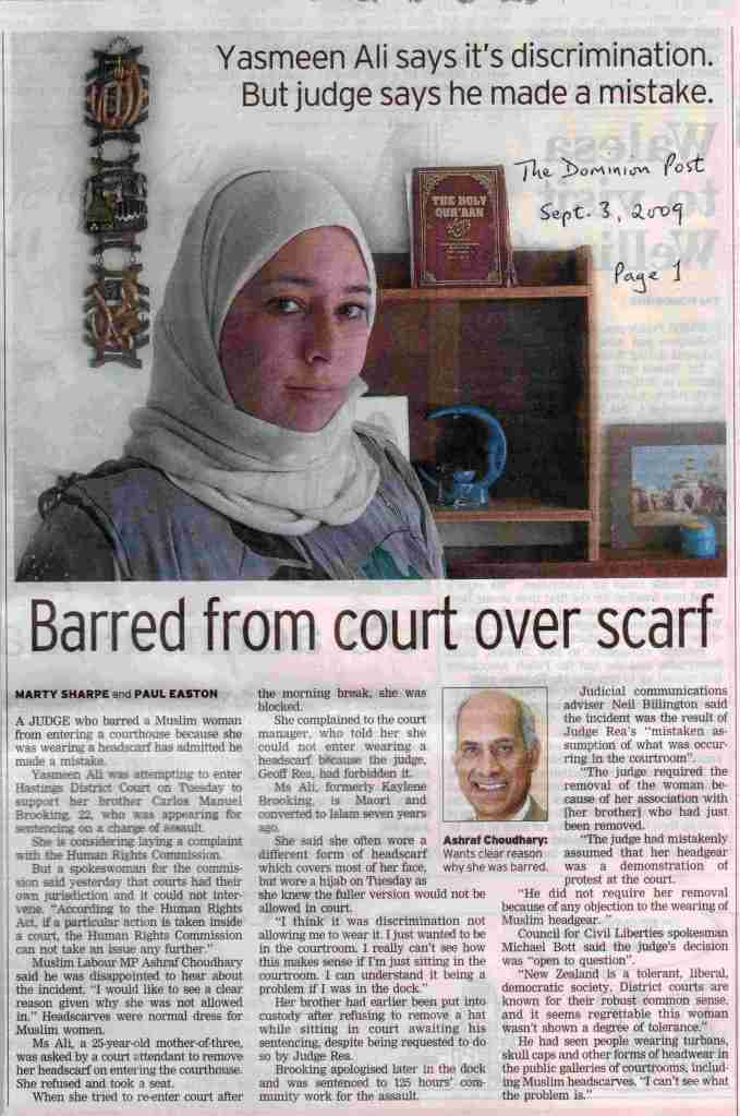 Barred from court over scarf