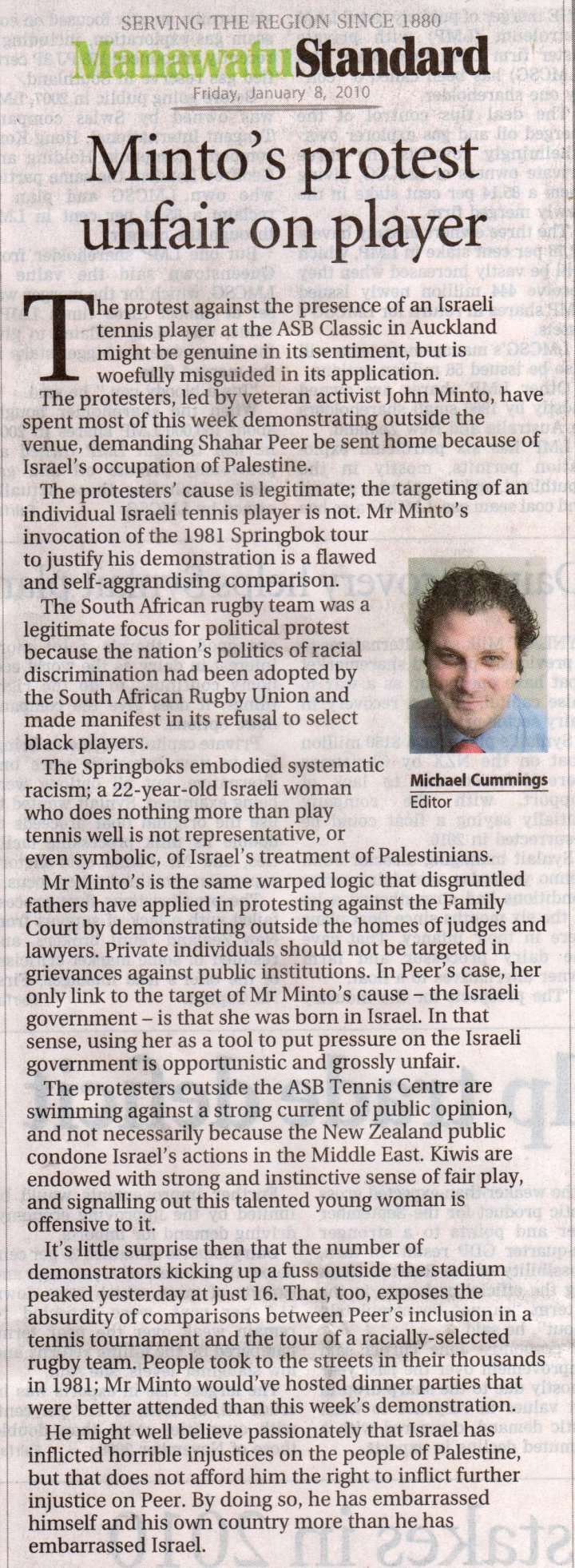 Protest against Israeli tennis player unfair, says NZ paper