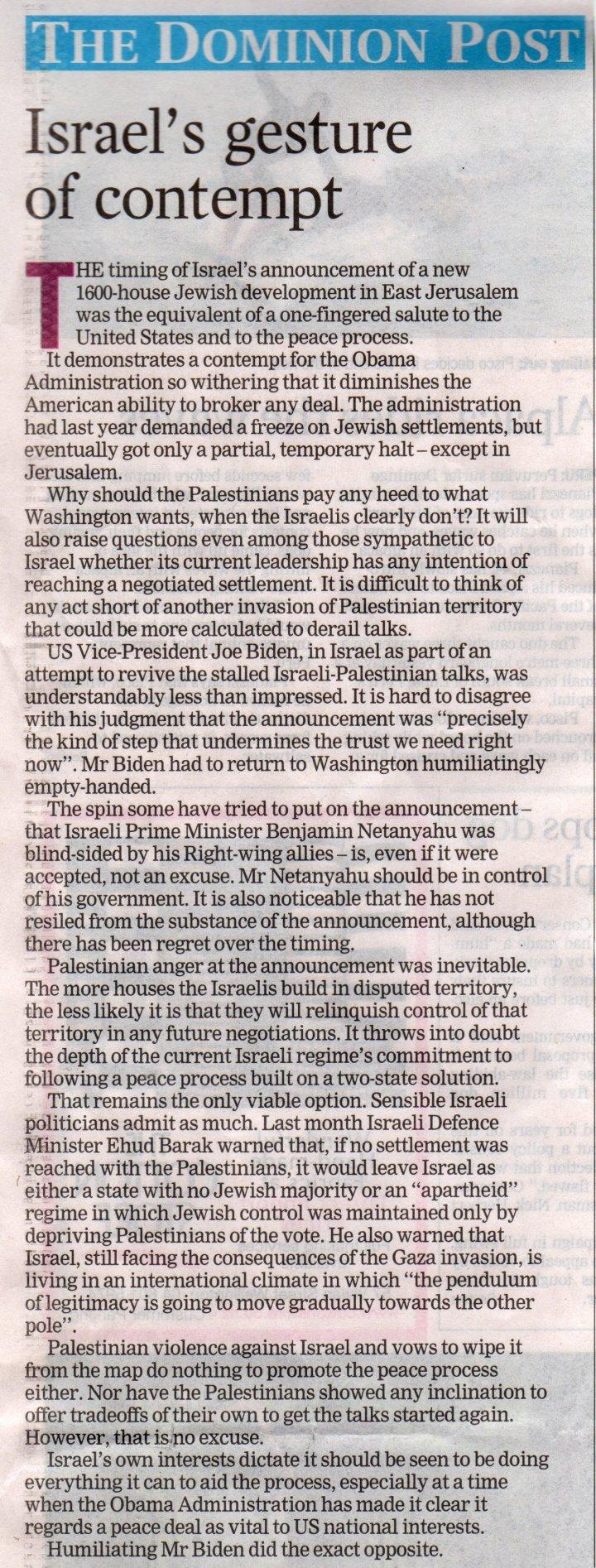 Israel's gesture of contempt