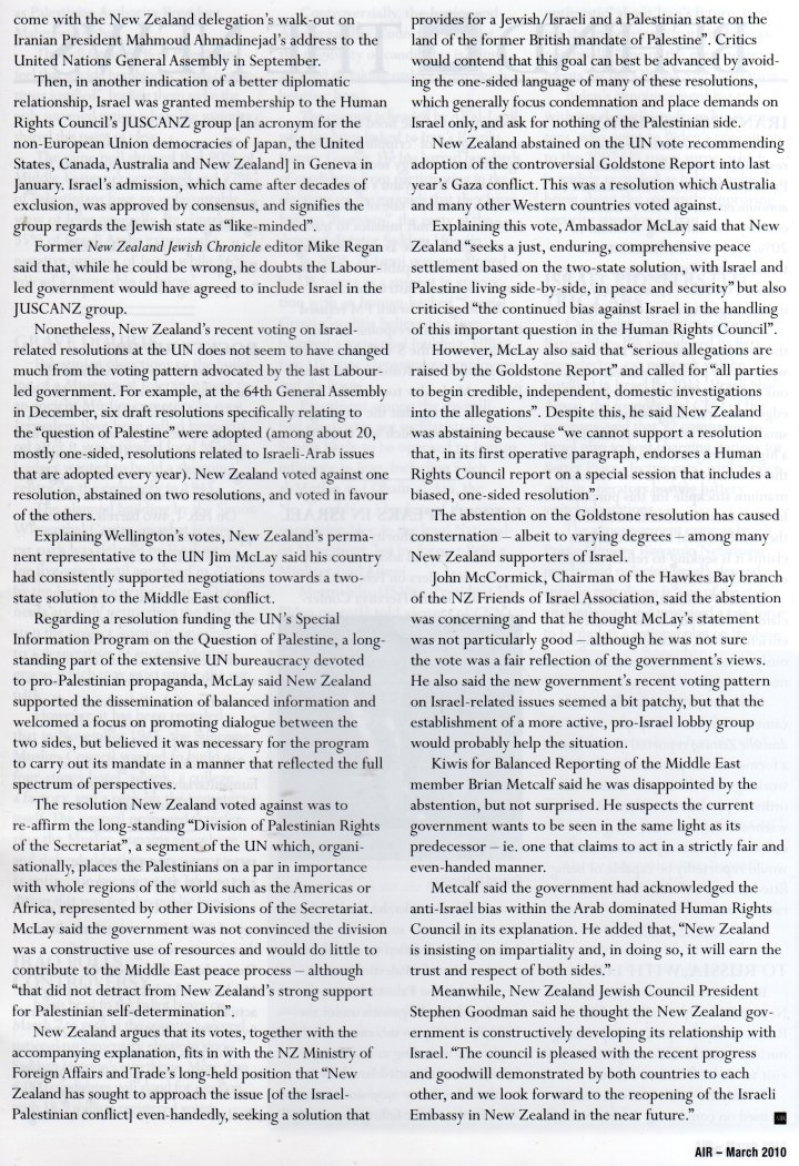 Miriam Bell article, Australia/Israel Review, March 2010