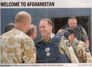 Intrepid John Key arrives in Kabul