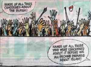 Who's concerned about the burqa?