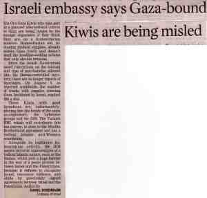 Gaza-bound Kiwis being misled, says Israeli envoy