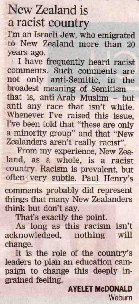 NZ a racist country