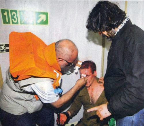 Israeli commando being treated, Mavi Marmara