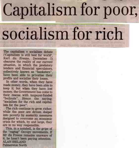 Capitalism for poor, socialism for rich