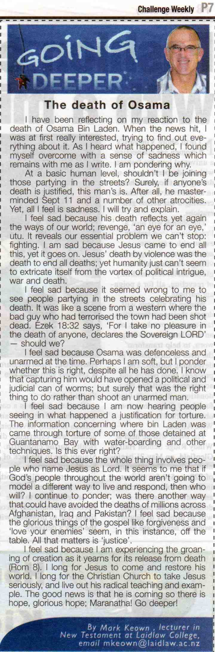 The death of Osama