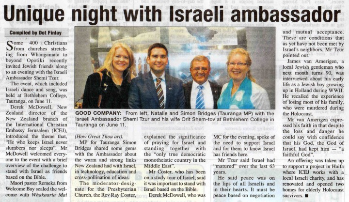 Unique night with Israeli ambassador