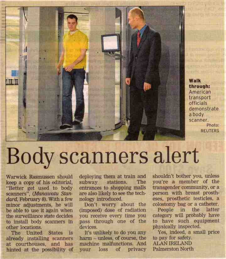 Body scanners alert